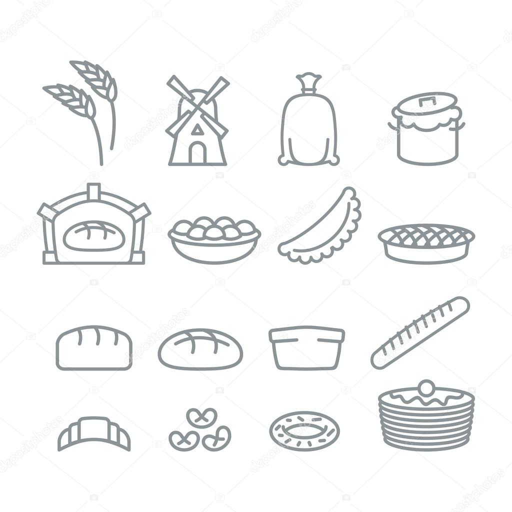 Bakery Line Icons Bread And Baguette Food Of Dough