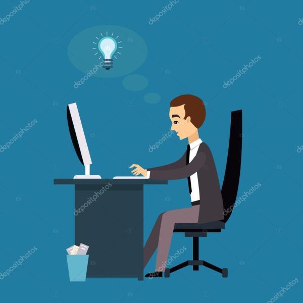 Человек работает с ноутбуком . — Вектор: изображение ...