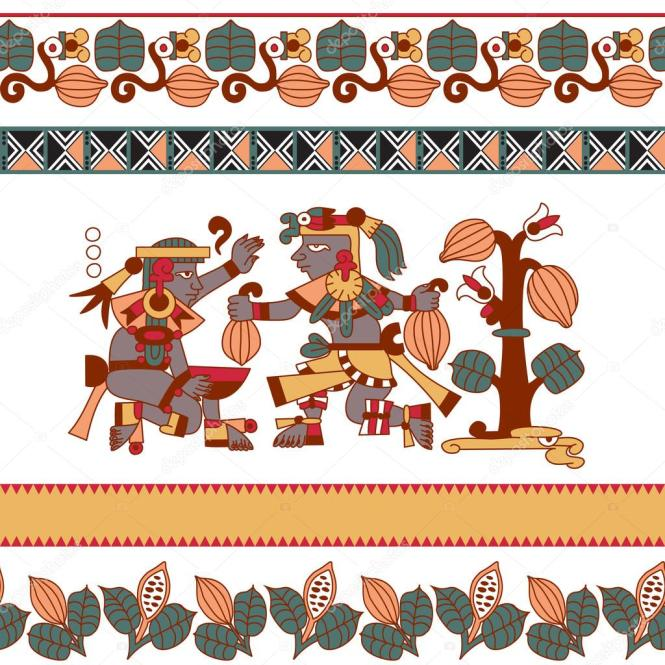 Aztec Pattern Cacao Tree Mayans Beans And Decorative Bo Stock Ilration