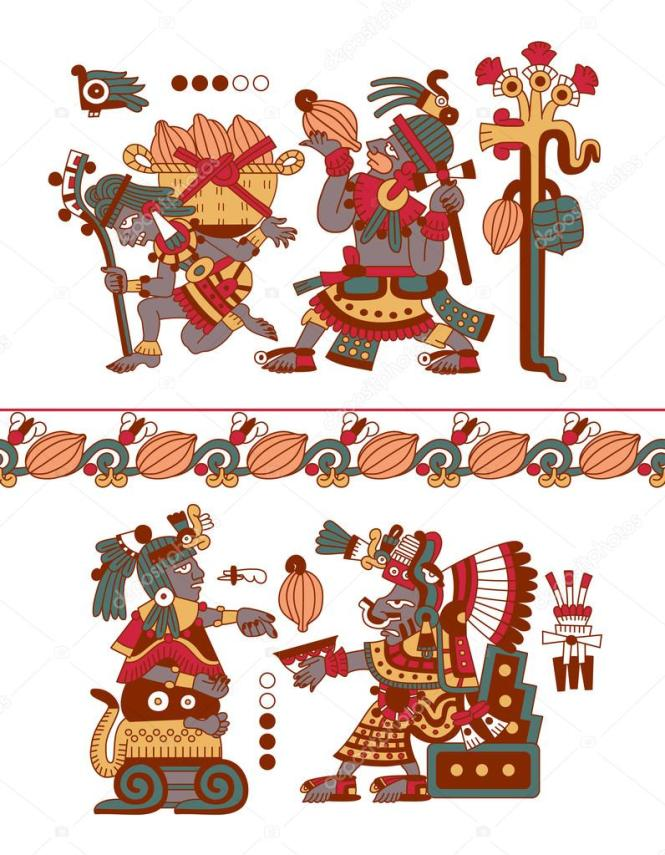 Aztec Pattern Cacao Tree Mayans Beans And Decorative Bo Stock Vector