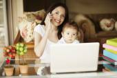 Woman working at home — Stockfoto #66621693