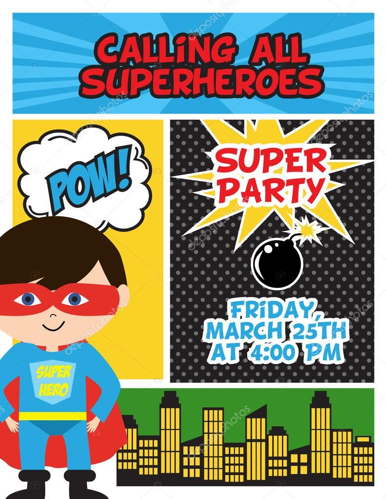 https depositphotos com 88393878 stock illustration super hero birthday invitation card html