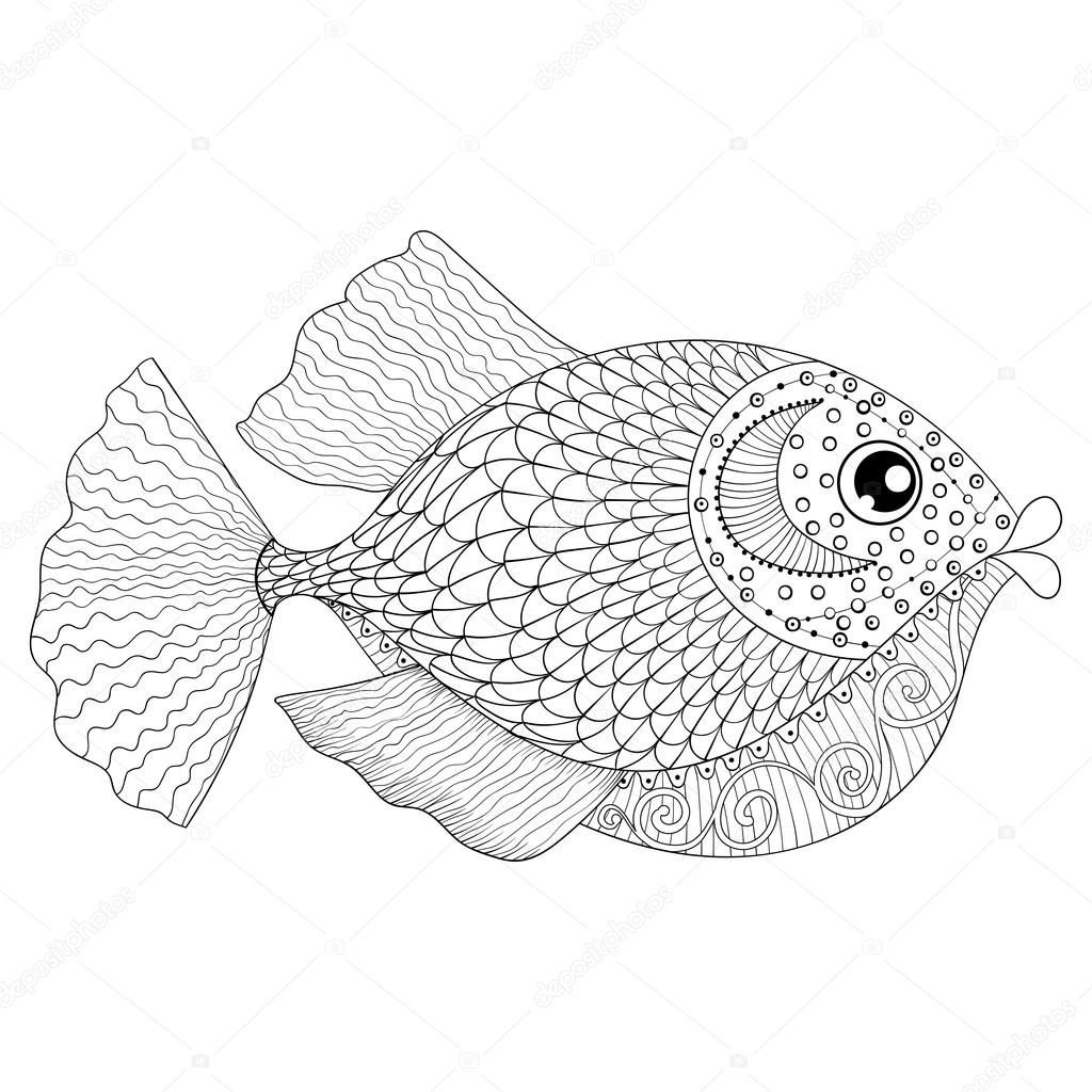Hand Drawn Zentangle Fish For Adult Anti Stress Coloring Pages