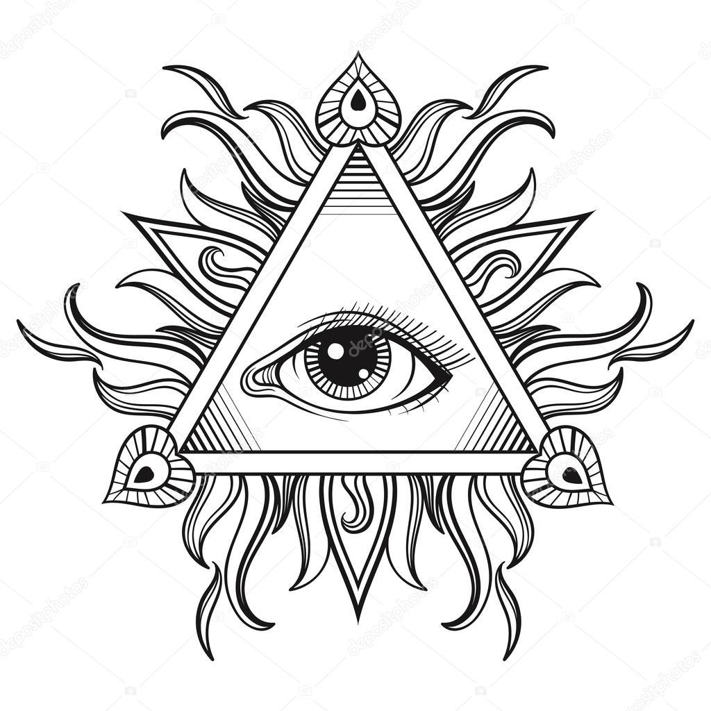 Vector Alle Sehende Augen Pyramide Symbol In Tattoo Gravur
