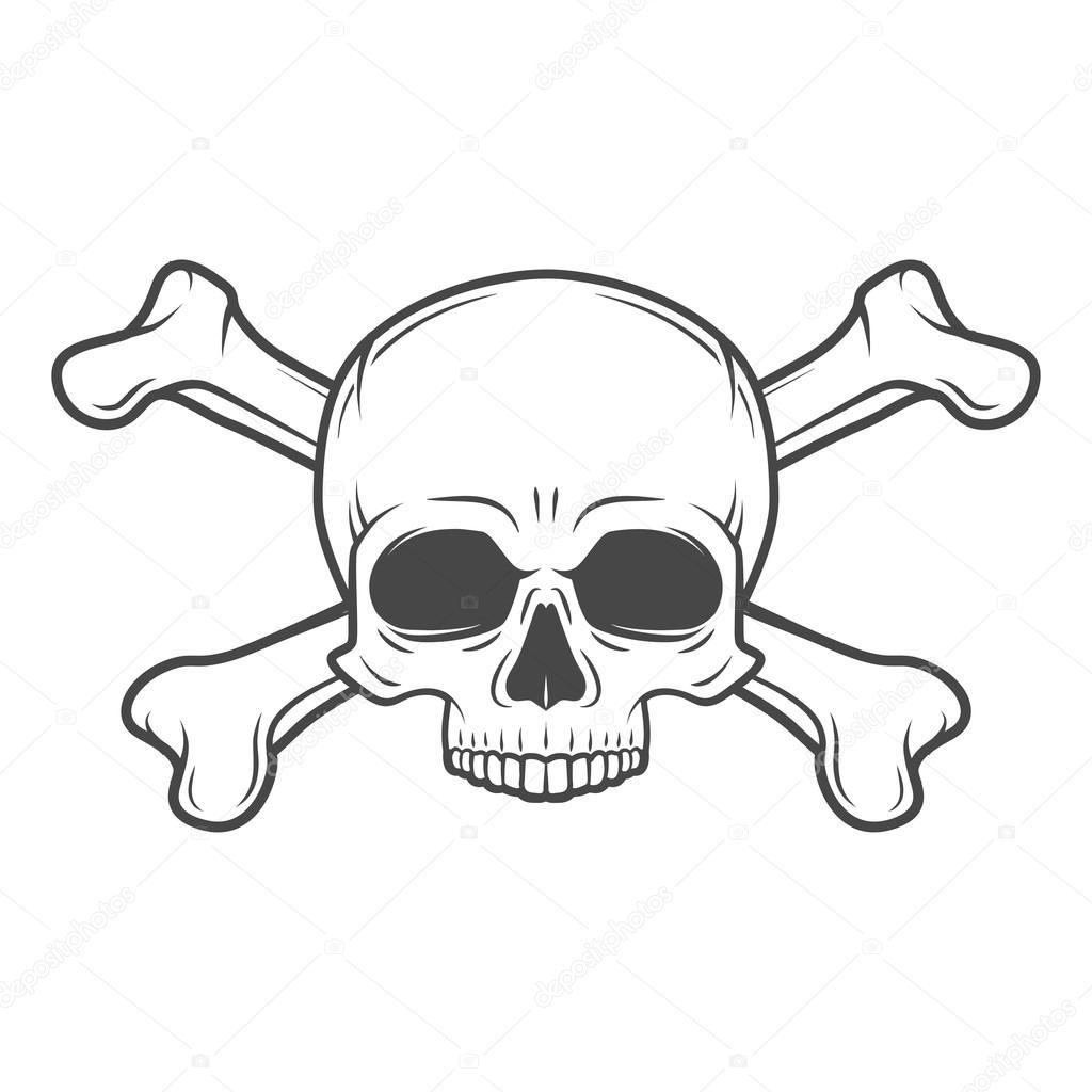 Mensch Bose Schadel Vektor Jolly Roger Mit Gekreuzten