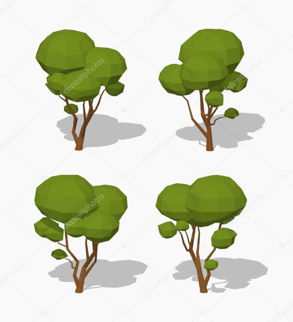 Низкая поли зеленый дерево — Векторное изображение ...