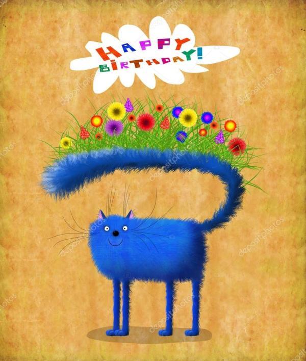 Кот цветы день рождения. День рождения карты голубой кот с ...