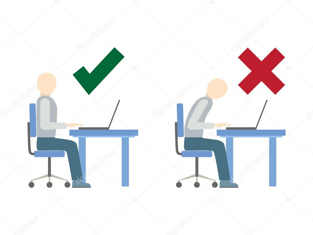 Correct And Incorrect Sitting Posture At Computer