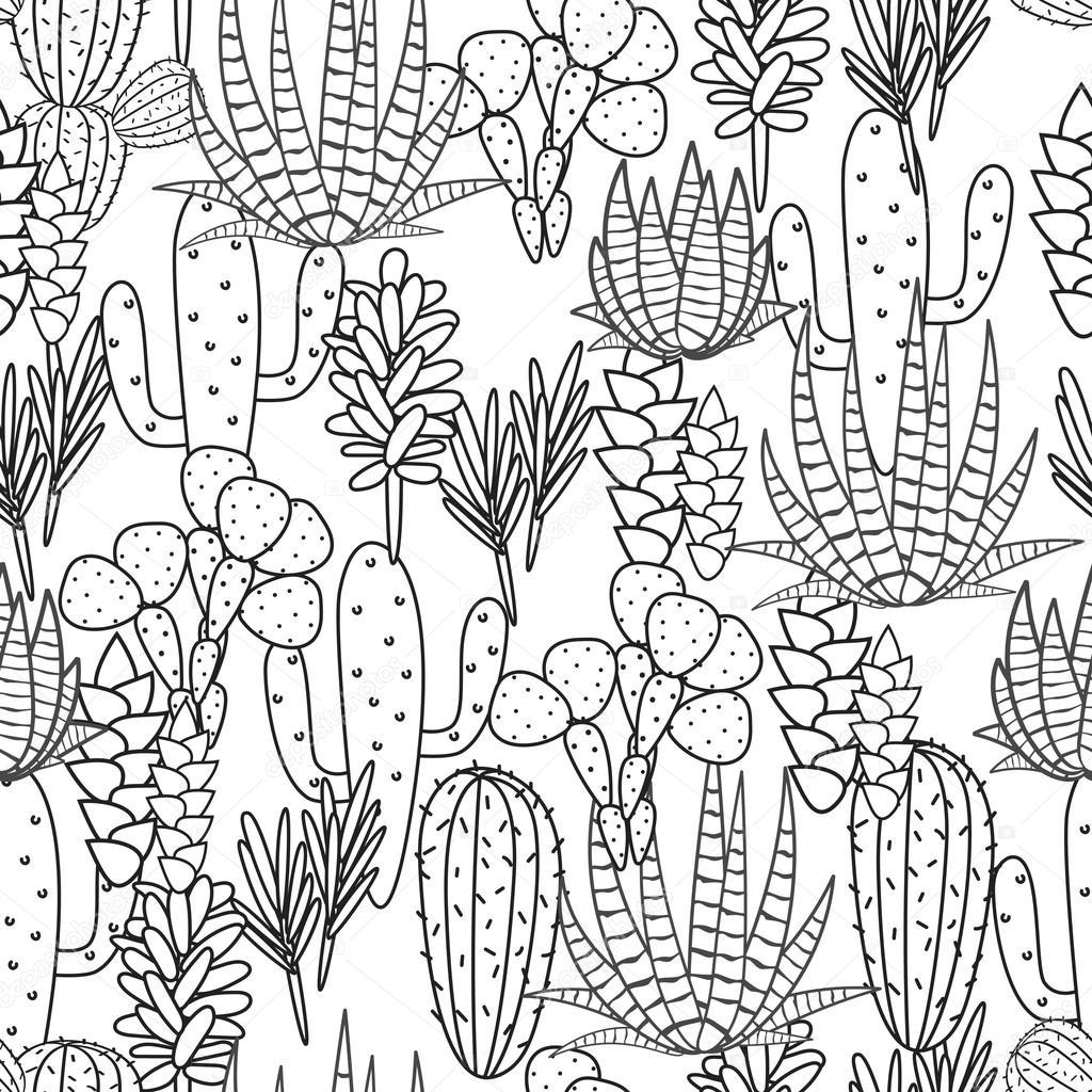 Succulents Plant Vector Seamless Pattern Botanical Black