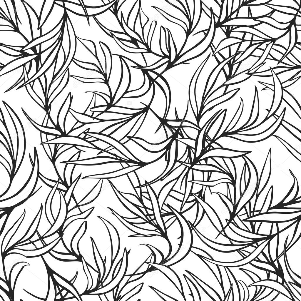 Natural Leaves Vector Seamless Pattern Hand Drawn Tree