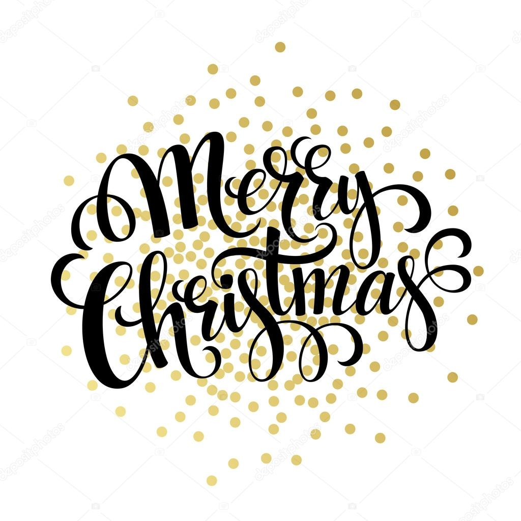 Hand Drawn Typography Card Merry Christmas Greetings Gold