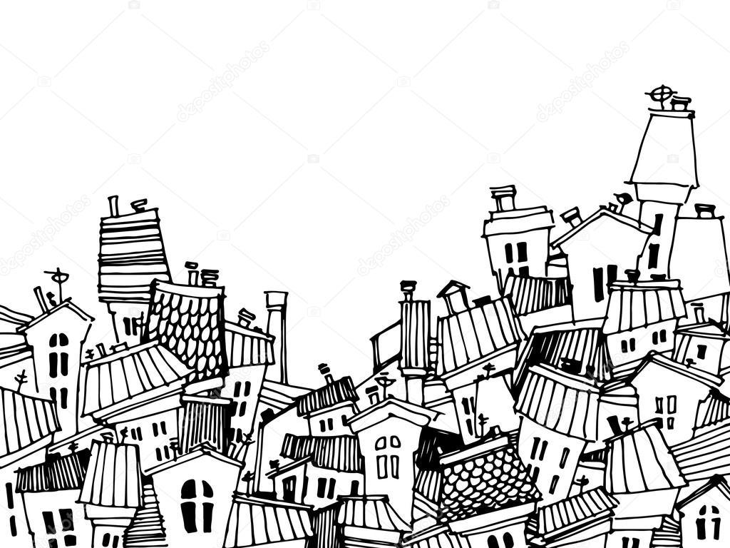 Cartoon Black And White City Card