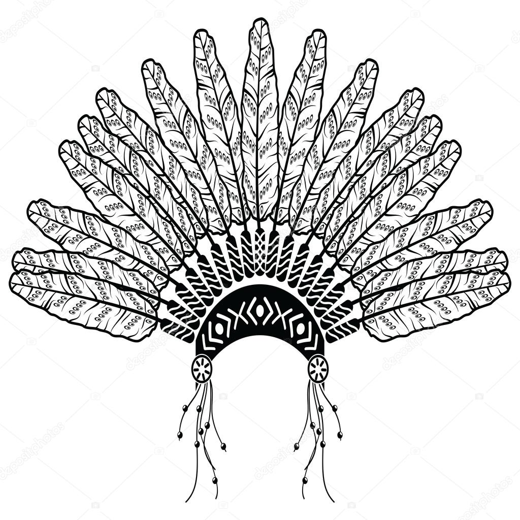 Headdress In Aztec Style Symbolizing Native American