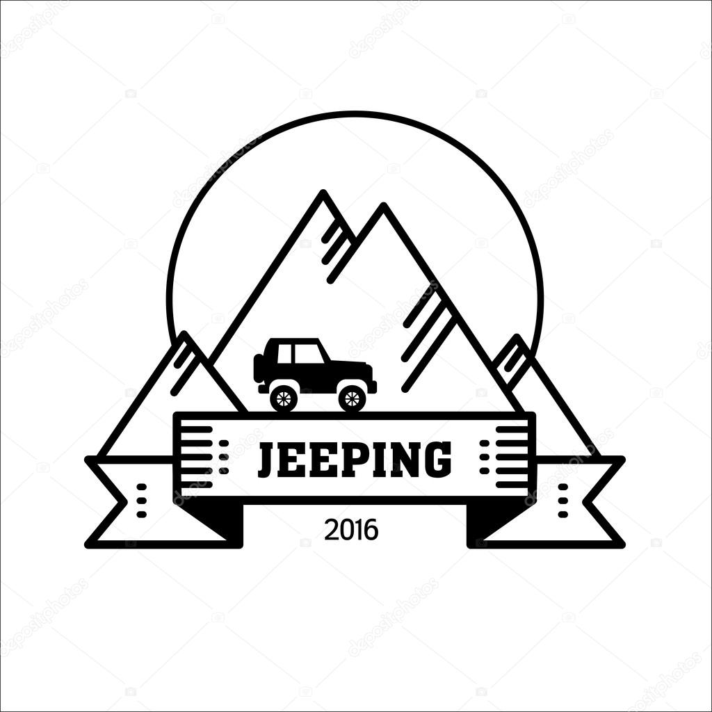 Logo Jeeping Vector Sign Riding Jeep Off Road Mountains