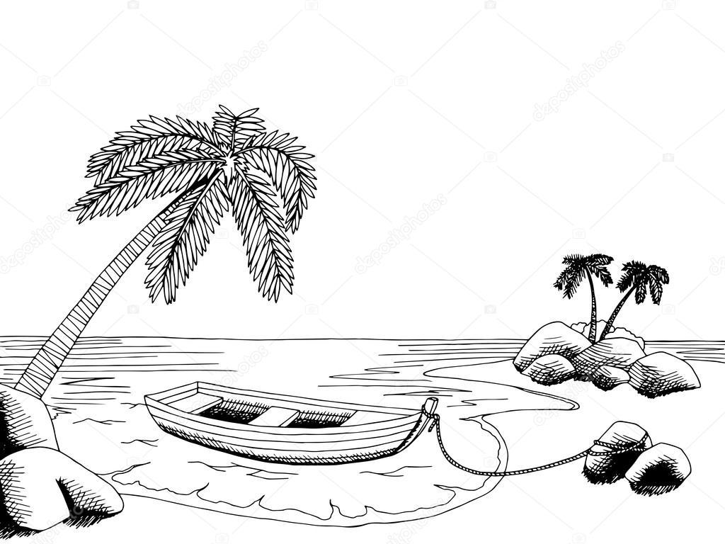 Sea Boat Graphic Art Black White Landscape Illustration