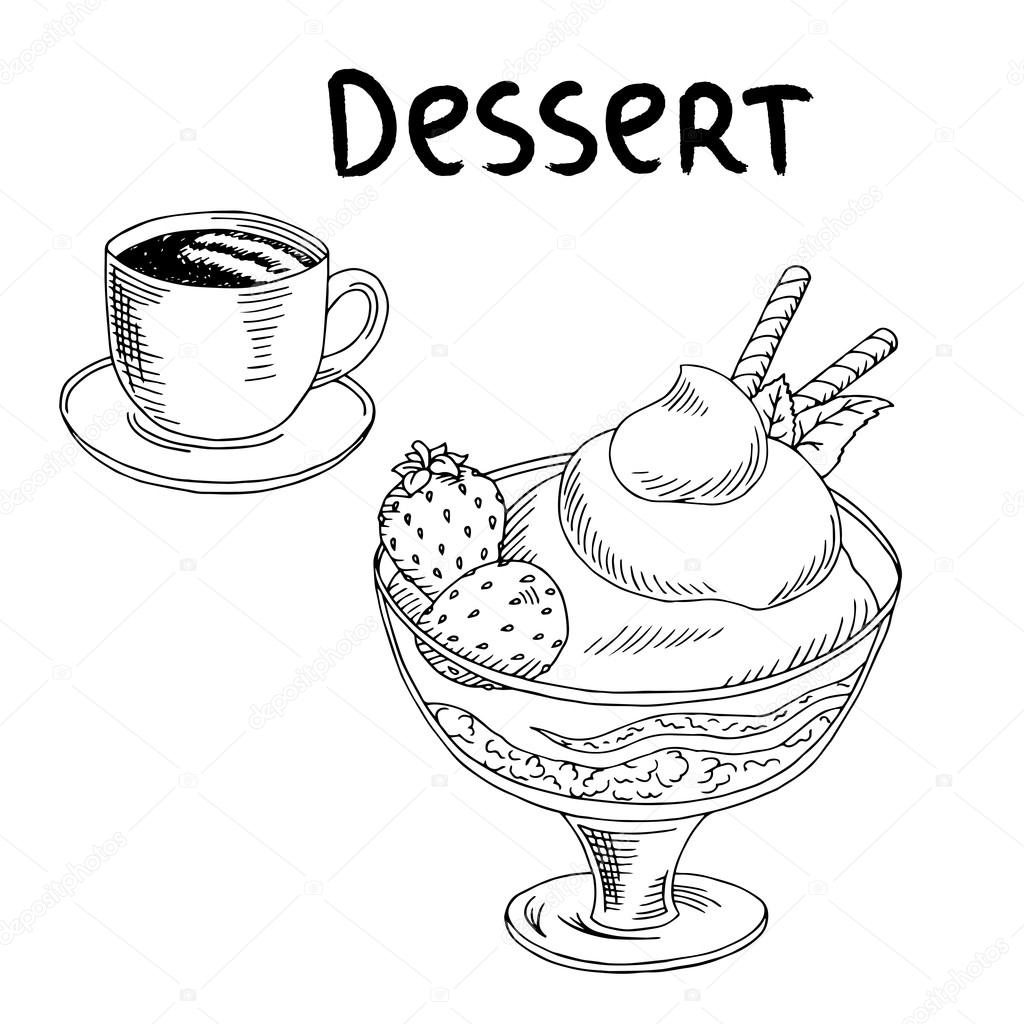 Dessert Strawberry Ice Cream Cup Coffee Food Graphic Art