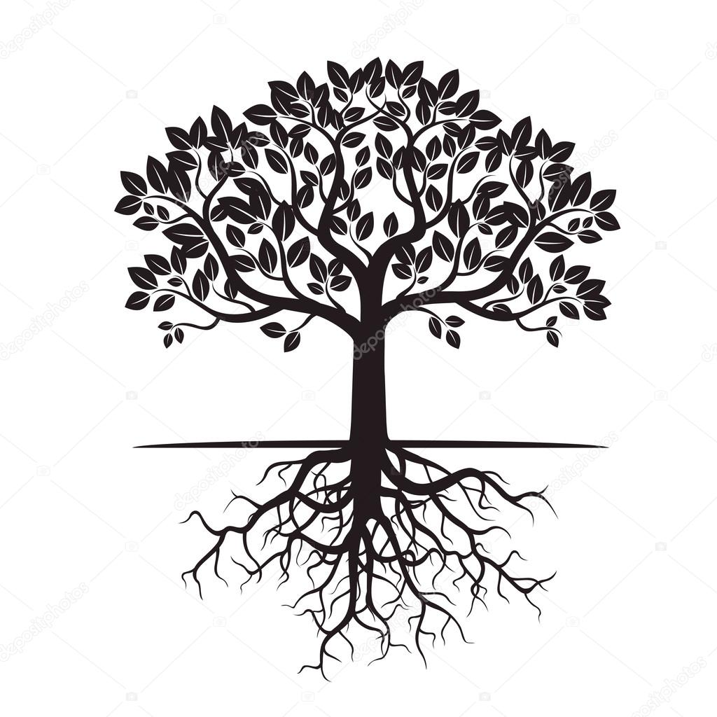 Black Tree And Roots Vector Illustration