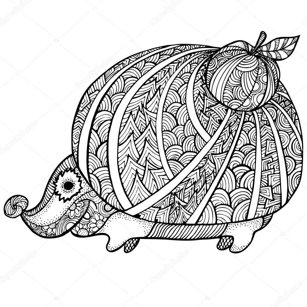 Zentangle Stylized Hedgehog Adult Anti Stress Coloring Page