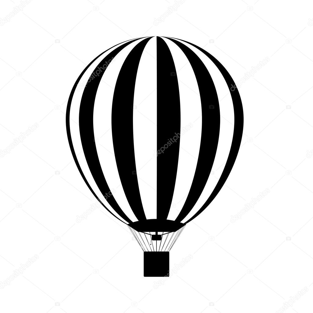Hot Air Balloon In The Sky Silhouette Vector