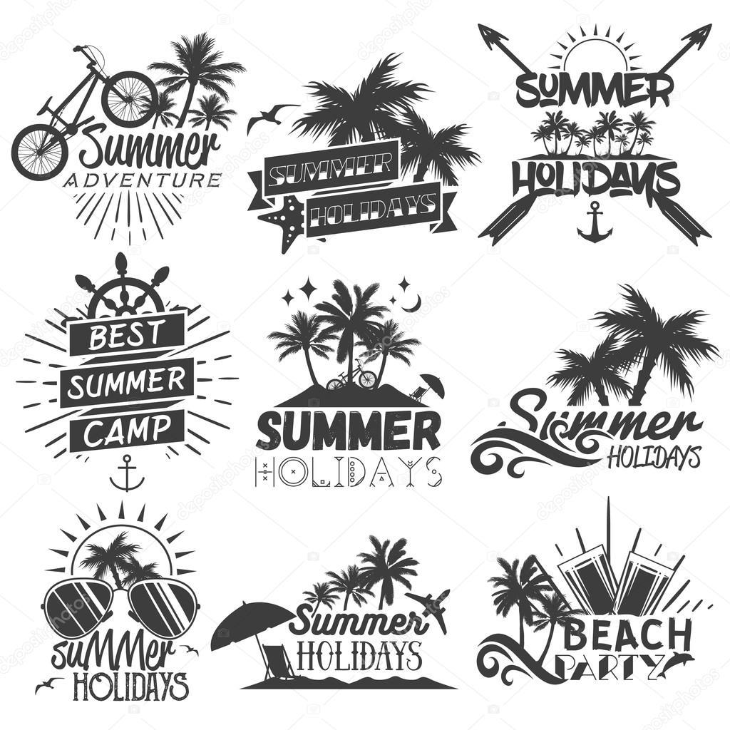 Vector Set Of Summer Season Labels In Vintage Style