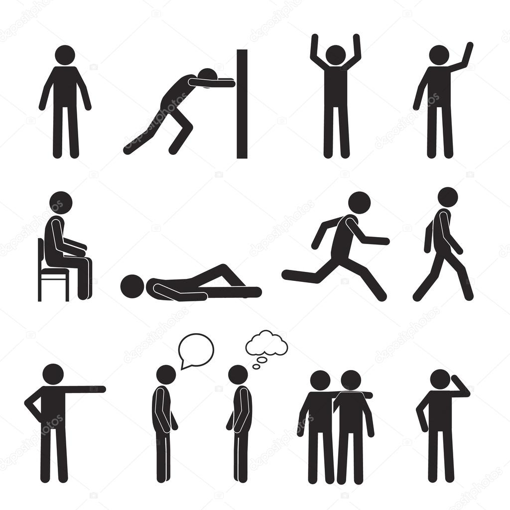 Man Posture Pictogram Icons Set Human Body Action Poses