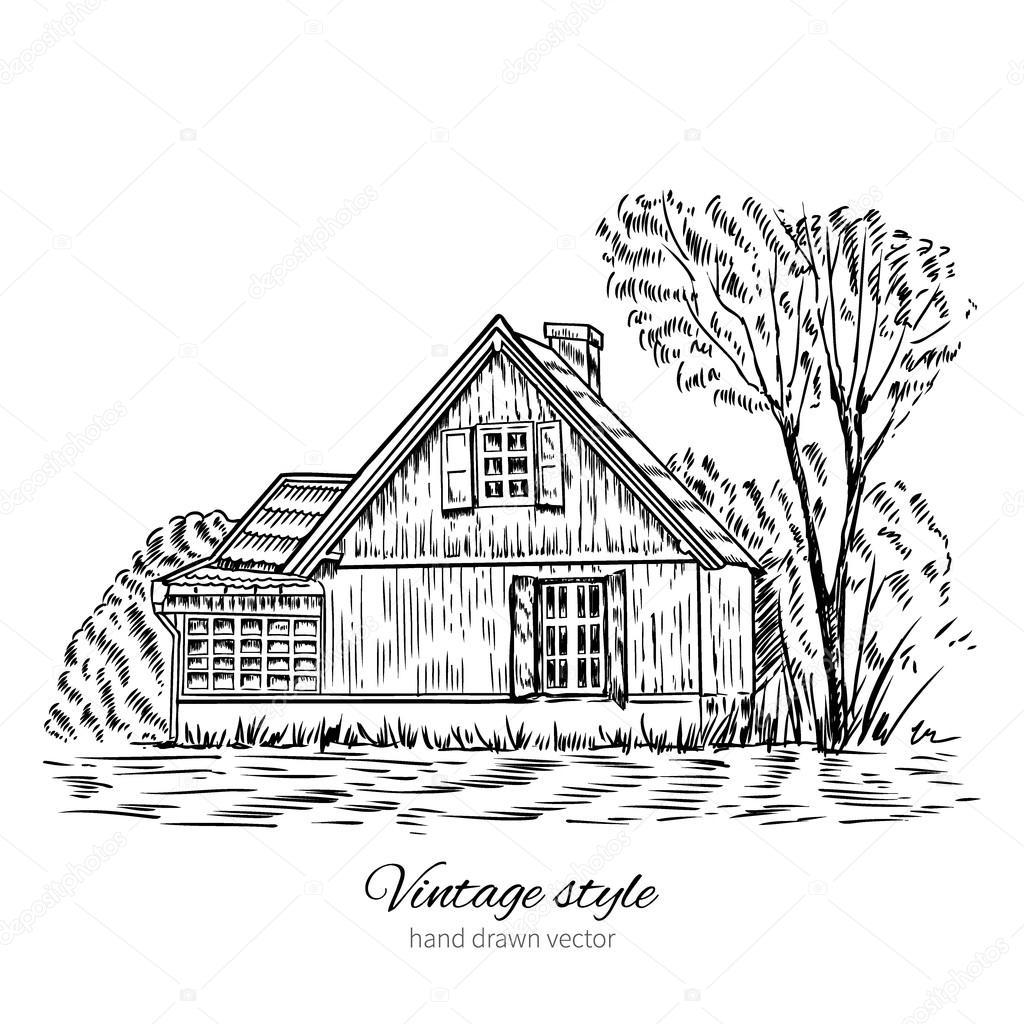 Vector Vintage Croquis Vieux Europeen Maison En Bois Isole