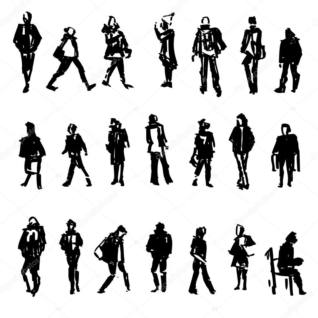 Silhouettes Of Walking Standing Sitting People Carrying