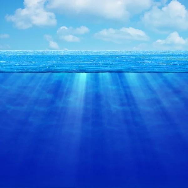 Морской пейзаж. Глубокий океан в хорошую погоду. Высокое ...