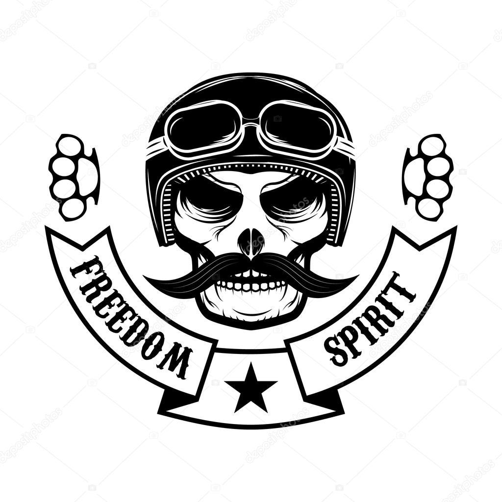 Freedom Spirit Skull With Moustache In Motorcycle Helmet