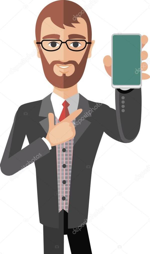 Мужчина с телефоном — Вектор: изображение, рисунок ...