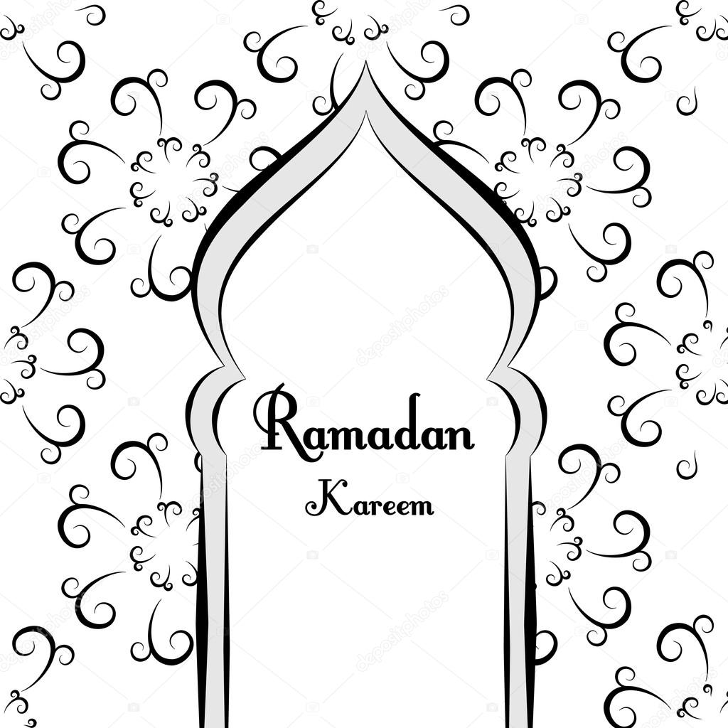 Black And White Ramadan Greetings Background Ramadan