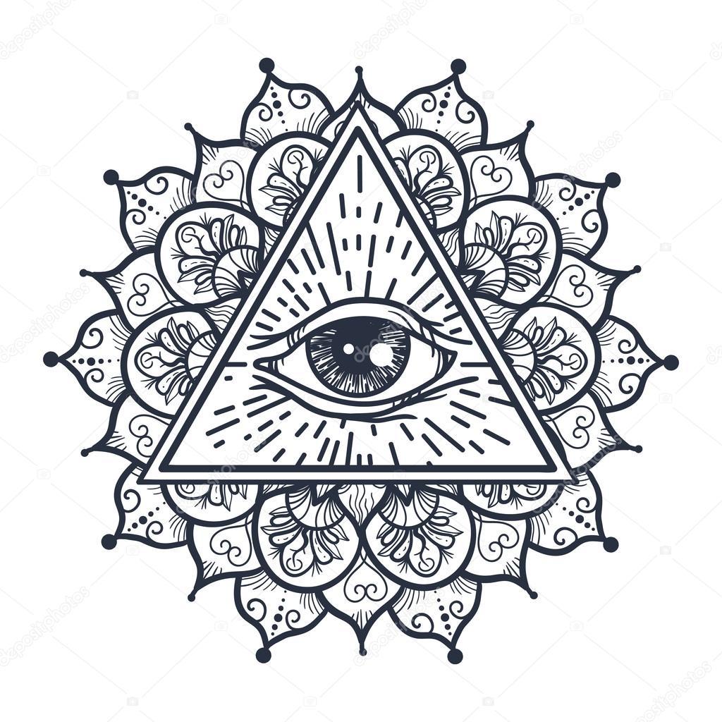 Alle Sehenden Auge Im Dreieck Und Mandal Stockvektor