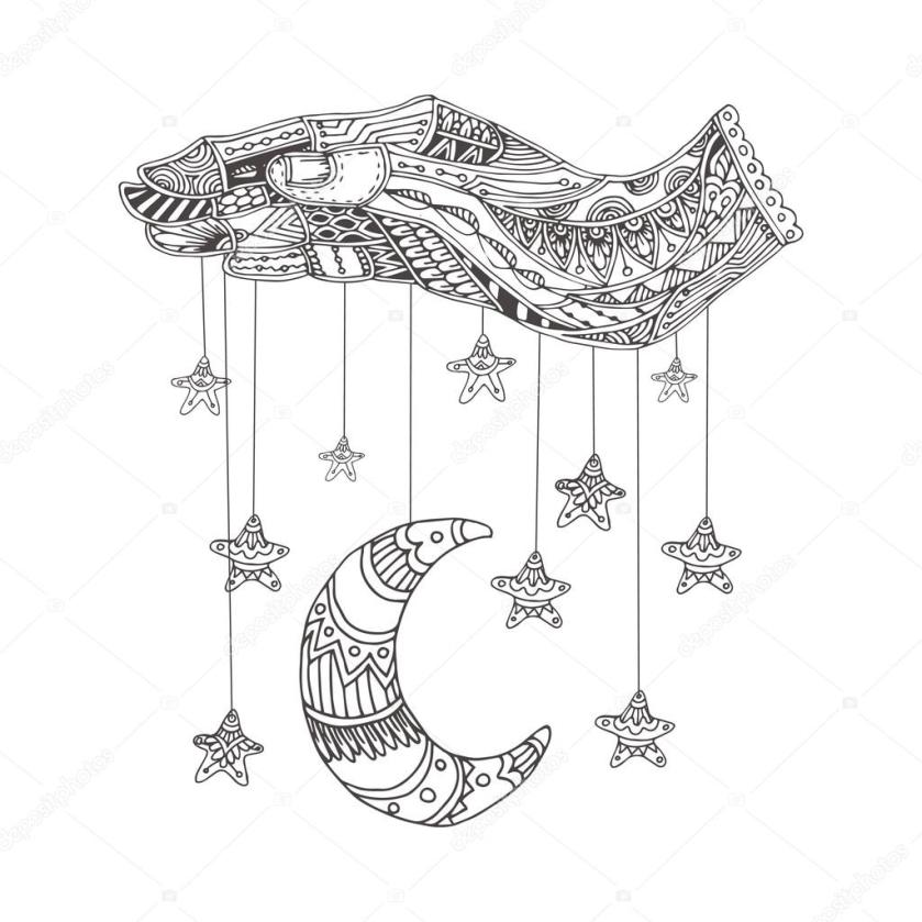 moon stars and hand. coloring book page. — stock vector