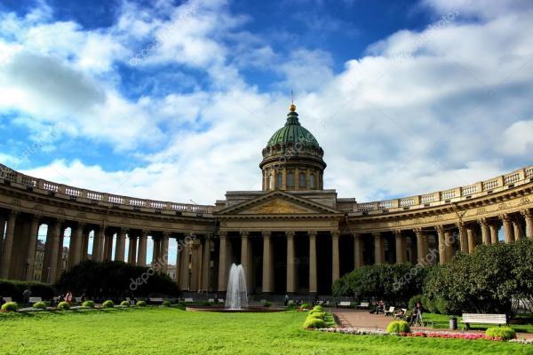 Казанский собор церкви, крупным планом, Санкт-Петербург ...