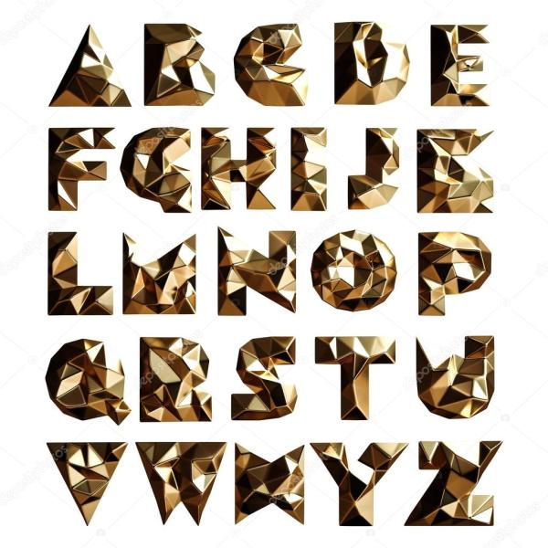 3D набор золото геометрические фигуры букв алфавита ...