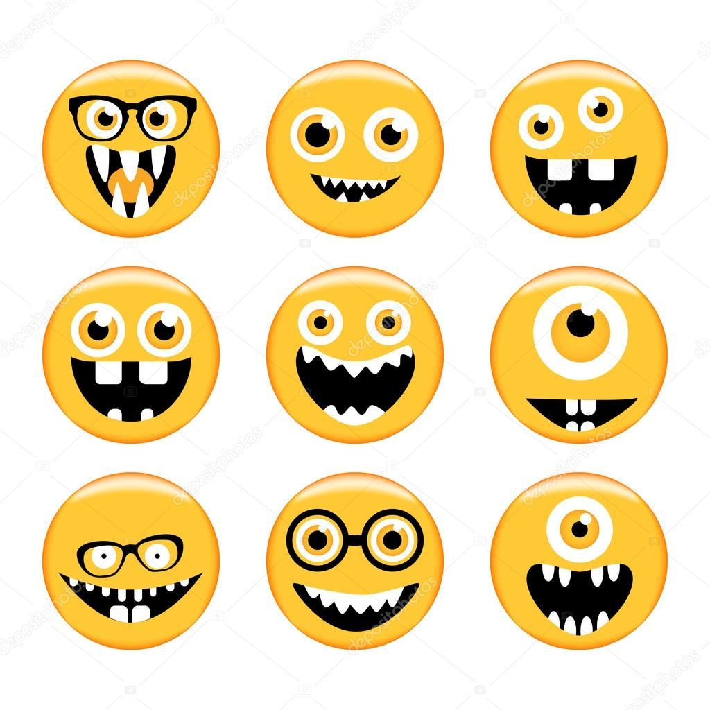 Set Van Emoticons Emoji Monster Gezichten In Glazen Met