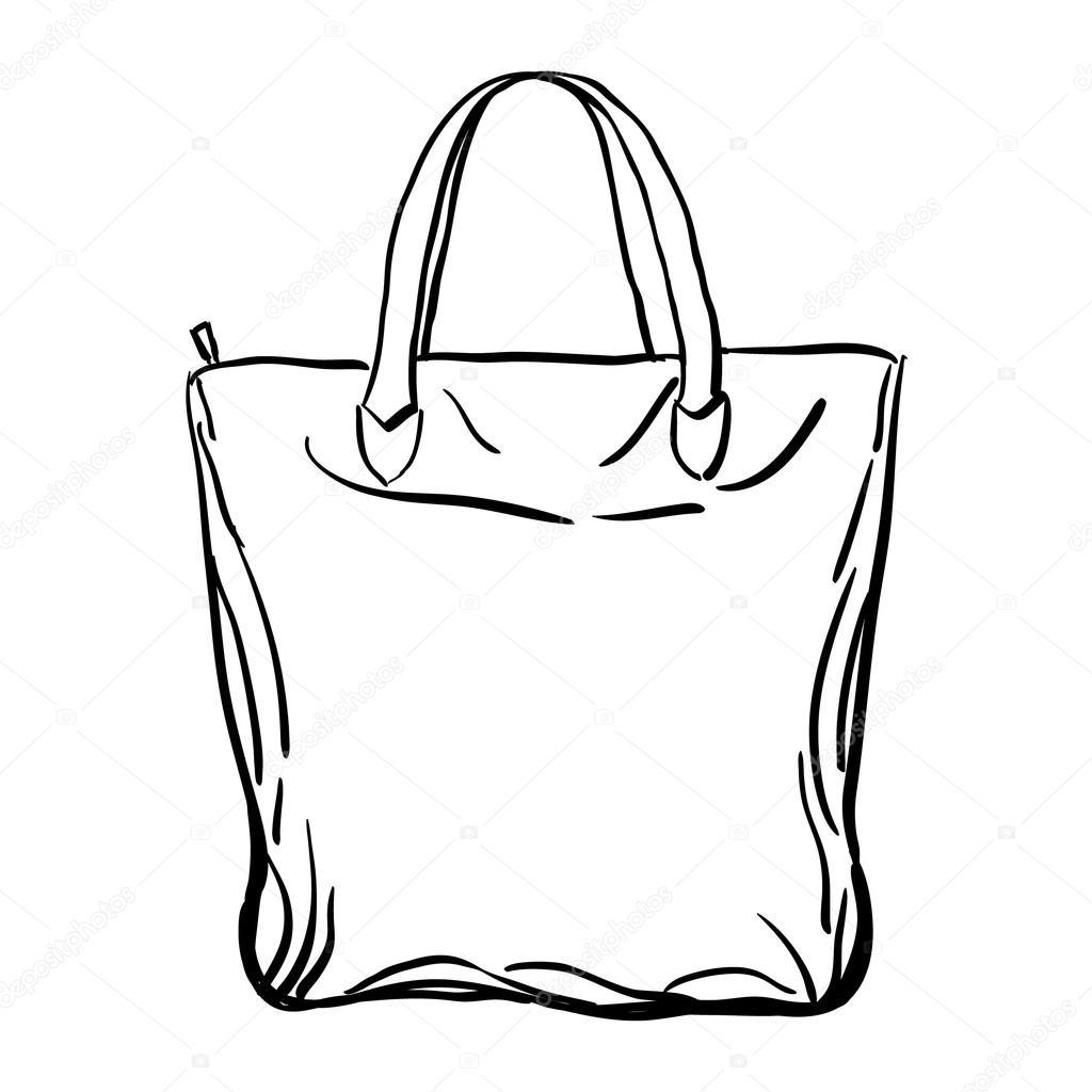 Beach Tote Bag Sketch Vector Illustration