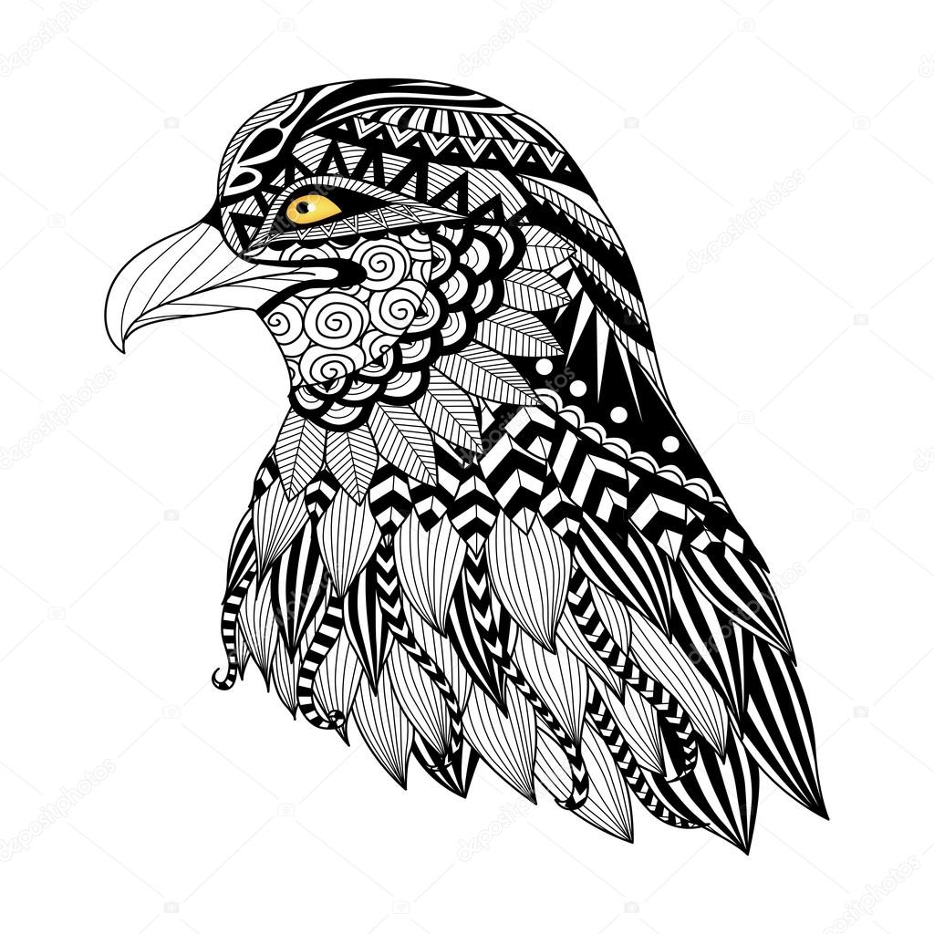 Detail Zentangle Eagle For Coloring Page Tattoo T Shirt