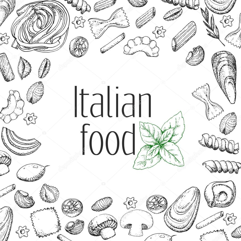 Italian Food Hand Drawn Food Background