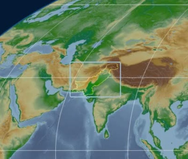 Pakistan D Tube Zoom Mollweide Projection Bumps Shaded Stock Video