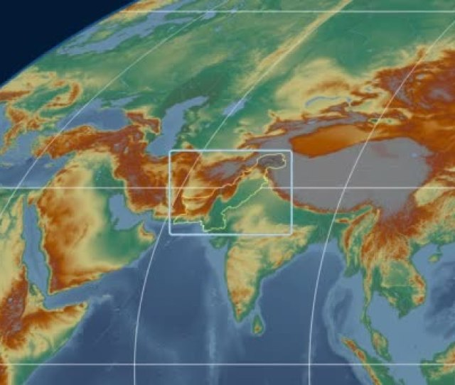 Pakistan D Tube Zoom Mollweide Projection Relief Royalty Free Stock Video