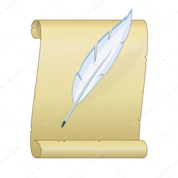 Старый свиток с пером — Векторное изображение ...