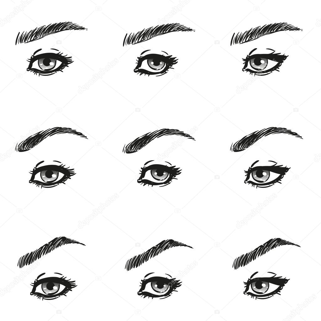 Icons Set Female Eye With Long Eyelashes And Eyebrows