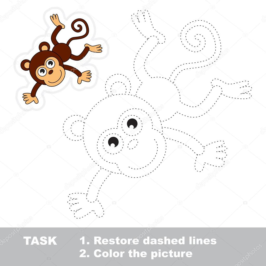 Monkey To Be Traced Vector Trace Game
