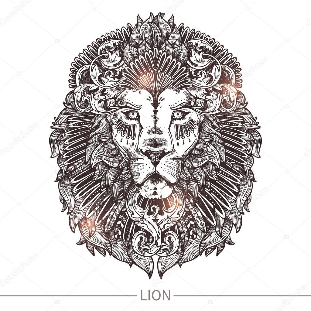 Tte De Lion Tatouage Ornemental Image Vectorielle