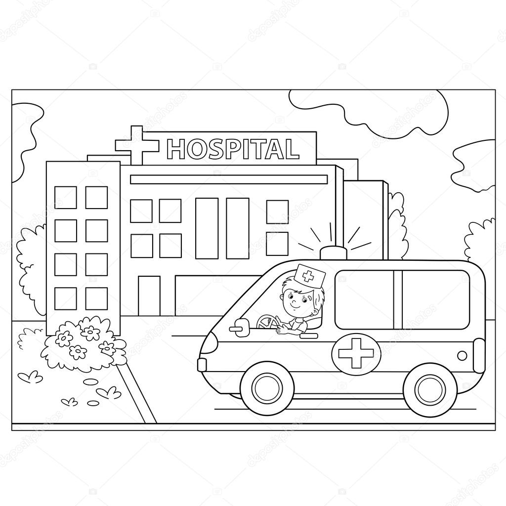 Coloring Page Outline Of Ambulance Car Near The Hospital