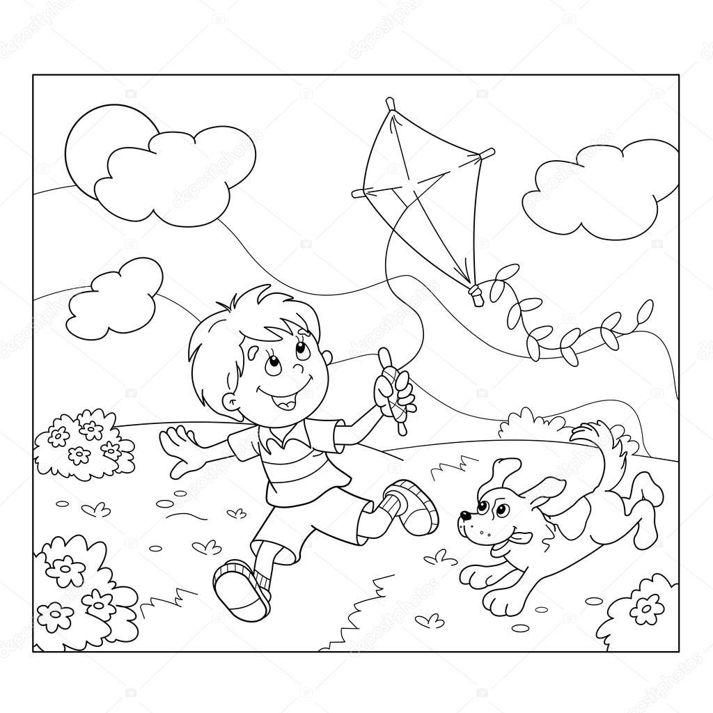 Kleurplaat Pagina Overzicht Van Cartoon Jongen Met Kite