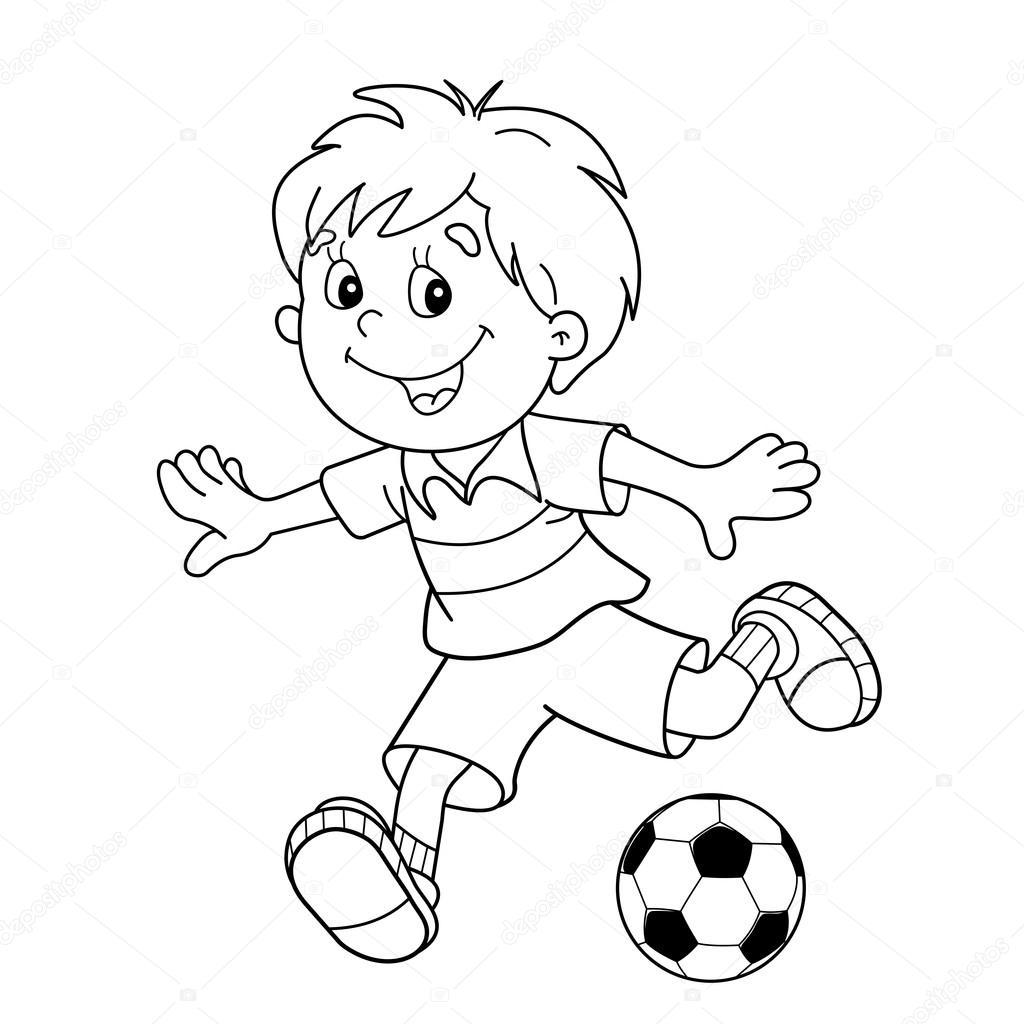 Colorear Pagina Esquema De Nino De Dibujos Animados Con Un Balon De Futbol Campo De Futbol