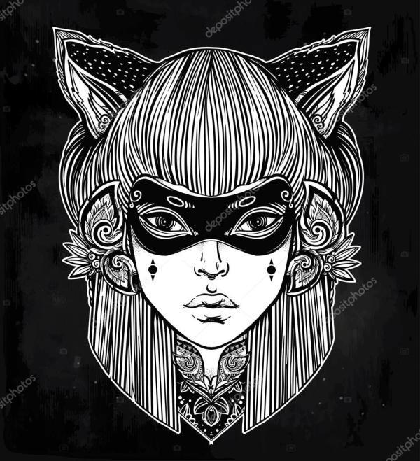 Красивая женщина в маске с cat уши portriat — Векторное ...