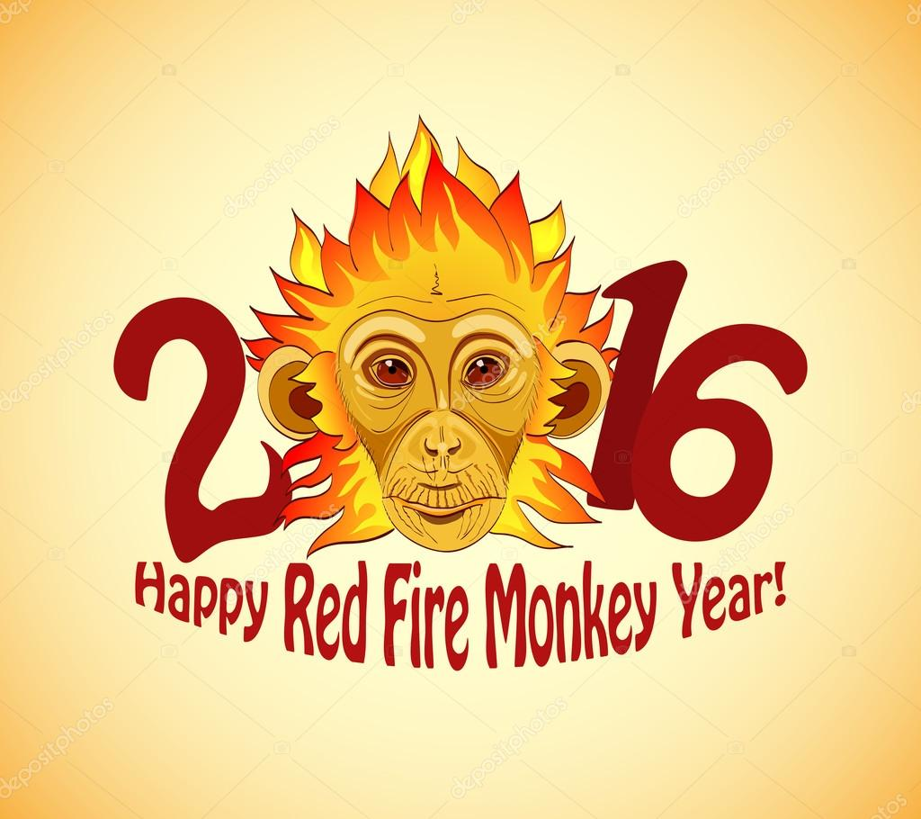 Redhead Fire Monkey as New 2016 Year symbol     Stock Vector     Redhead Fire Monkey as New 2016 Year symbol     Stock Vector